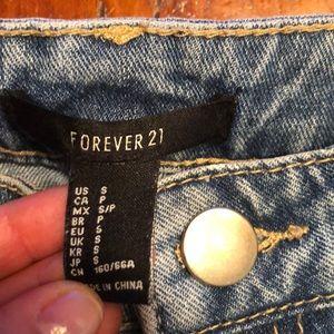 Forever 21 Skirts - Forever 21 Distressed Denim VERY Mini Skirt